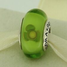 Authentic Pandora 790648 Green Flowers For You Murano Glass Silver Bead Charm