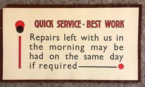 ORIGINAL 1920s UNUSUAL TYPOGRAPHIC SMALL SHOP POSTER - QUICK SERVICE BEST WORK