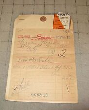 1949 SEARS, ROEBUCK & CO. Furniture Receipt Sales Tag Fair Condition Baltimore?