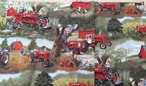 """Remnant Stash 100% Cotton Tractors on Farmyard Design Fabric W 22"""" x L 12 """""""