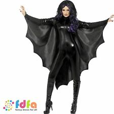 BLACK VAMPIRE BAT WINGS CAPE HIGH COLLAR - ladies womens halloween fancy dress
