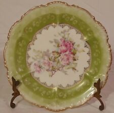 Austrian Porcelain Cabinet Plate Hapsburg China Green Pink Roses Flowers