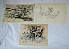 3 REINHOLD H. PALENSKE (1884-1954) Original Drawings Deer Hunting  Animals