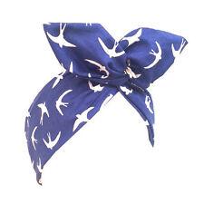 Blu con bianco RONDINE BIRD Stampa Rockabilly Filo Fascia PIN UP