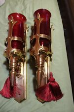 Antique Art Deco Brass Wall Sconces With Ruby Red Glass Shades HUGE!