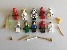 LEGO NINJAGO MINIFIG LOT of 10 MINIFIGS 4 Ninjas Weapons Lot l500b