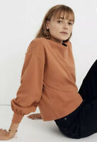 New Madewell Chord Bubble-Sleeve Top XXS Afterglow Red Burnt Orange (m)iles NWT