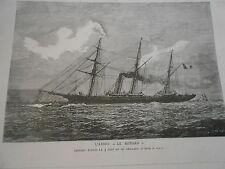 Gravure 1885 - L'Aviso le Renard disparu le 3 Juin
