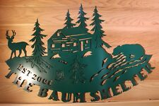 Personalized Sign Cabin Camp or Lodge Plaque Wildlife Wilderness Scene Metal Art