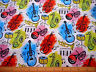 Novelty Fabric By The Yard Multi-Color Musical Instruments Notes on White Cotton