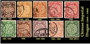 CHINA  IMPERIAL DRAGON USED 1898-1C/2C/3C/1902-1908/1/2C1C/2C/2C/4C/5C/5C/10C