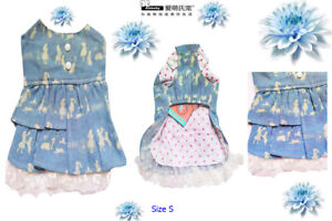 Ambaby Cute Spring Summer Small Puppy Doggie Dog Dress Denim Skirts Pet Clothes
