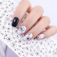 Line Flower Nail Art Water Decals Transfer Sticker Black Simple Drawing