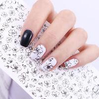 Linie Blume Wasser Sticker Schwarz Tattoo Nagel Aufkleber Nail Art Dekoration