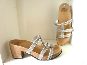 New Scholl Bioprint Size Uk 6.5 Silver Leather Heeled Sandals Shoes Summer