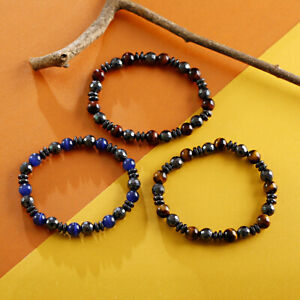 8MM Tiger Stone Beads Hematite Bangle Fashion Women Men Charm Energy Bracelets