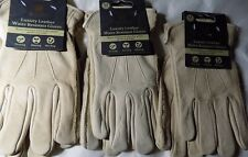 3 X  KENT & STOWE  WATER RESISTANT LUXURY LEATHER GLOVES IN MEDIUM BEIGE
