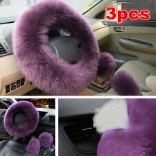3x Car Accessories Long Plush Warm Winter Steering Wheel Cover Woolen Handbrake