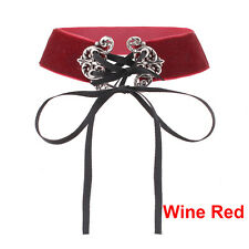 Retro Velvet Ribbon Lace Up Wide Choker Necklace Gothic Punk Handmade Jewelry