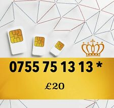 New Pay As You Go Platinum VIP Gold Easy UK Mobile Number 075575 1313 *