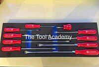 Britool Hallmark 10 Piece Slotted Flat Red Screwdriver Set In Tool Foam
