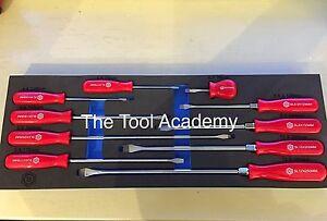 Britool Hallmark 10 Piece Slotted Flat Red Screwdriver Set In Tool Foam