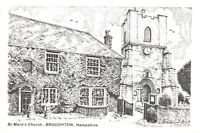 Art Sketch Postcard St Marys Church, Broughton, Hampshire by Don Vincent AS1