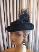 FETCHING 40'S BLACK FELT TILT HAT W/ASYMMETRICAL BRIM, SIDE FEATHER & VEIL