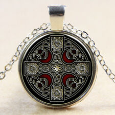 Vintag Celtic Cross Glass Cabochon Tibet silver pendant chain Necklace F01