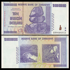 Zimbabwe 10 billion Dollars, 2008, Circulated XF MONEY 10 20 100 TRILLION SERIAL