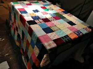 handmade blanket quilt patchwork 6 1/2 x 75 and 1/2 full size