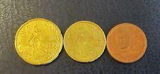 1, 2, 10 + 20 céntimos euros moneda Francia año de emisión 2010 de circulación artículo de colección!