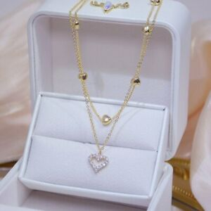 14k Gold Double Layer Zircon Heart Pendant Necklace Women Clavicle Chain Gifts