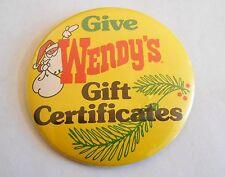 Vintage Wendy's Gift Certificates Santa Claus Advertising Pinback Button