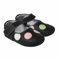 Baby Girls Infant Toddler Brown Spotty REAL Leather Cruiser Shoes -Little Blue L