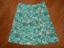 Ann Taylor Blue Green lined Floral Cotton A line Skirt Sz 4