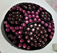 BIJOU BROCHE BROOCH signé KRAMER VINTAGE strass violet rose métal noir  D150