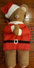 "Large Christmas Stocking Stuffed Santa Teddy Bear 29"" Tall Handmade from Kit"