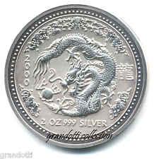 AUSTRALIA 2 DOLLARI 2000 ANNO DEL DRAGONE RARA MONETA ARGENTO 2 OZ