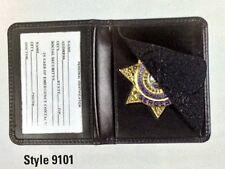 New Bi Fold Leather Sheriff 7 Point Star Badge Holder CDCR Corrections Officer