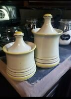 Vintage Mid Century Yellow  Kitchen Canister Set, Beautiful!