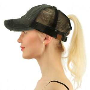 C.C Ponytail Messy Buns Ponycaps Baseball Visor Cap Dad Hat Distressed Black