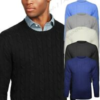 Mens Plain Classic Chunky Knitted Cable Crew Round Neck Knitwear Jumper Sweater