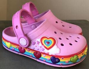 CROCS Size 9 Children's Pink Rainbow Hearts Light Up LED Clogs Crocband Shoes