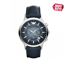 New Emporio Armani AR2473 Classic Chrono Blue Dial Leather Strap Men's Watch UK