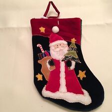 Santa Claus Ol World Christmas Stocking Holiday Embroidered Plush Felt Small 8""