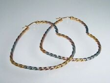heart shaped s.steel hoop earrings in silver, gold and rose gold colors 1703