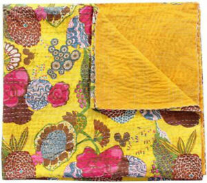 Yellow Kantha Quilt Bedspread Reversible Bedding Throw Handmade Blanket Double