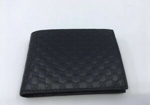 Gucci Men Guccissima Navy Leather Wallet