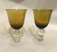 Amber Brown Glass 8 oz. Water Wine Glasses Set Of 2